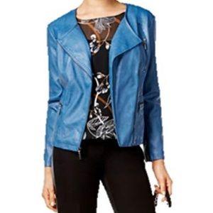 🌸 NWT Alfani Petite Faux Leather Moto Jacket
